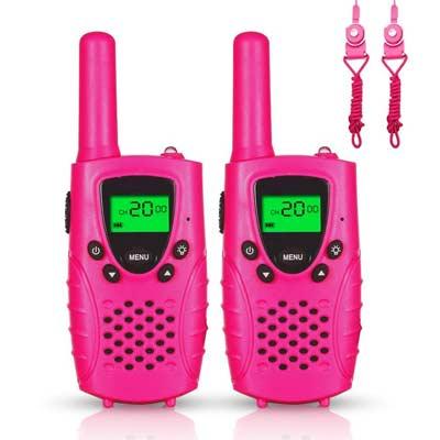 Walkie Talkies, Niños PMR 446 MHz 0.5W 8 Canales, LCD Pantalla Función VOX Linterna Incorporado con Larga Distancia, Regalos de Cumpleaños Chico Juguetes de Niños,amuflaje verde,2 Piezas
